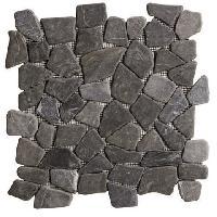 Carrelage - Plaquette De Parement - Brique De Verre - Decor - Plinthe Carrelage Galet - 30 x 30 cm - Noir marbre - Pour l'interieur uniquement
