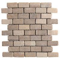 Carrelage - Plaquette De Parement - Brique De Verre - Decor - Plinthe Carrelage Galet Briques beige coucher de soleil - 30 x 30 cm