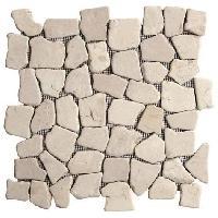 Carrelage - Plaquette De Parement - Brique De Verre - Decor - Plinthe Carrelage Galet Flat - 30 x 30 cm - Beige - Pour l'interieur uniquement