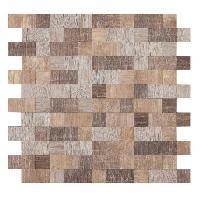 Carrelage - Plaquette De Parement - Brique De Verre - Decor - Plinthe Carrelage Mosaique adhesive en bois - 30 x 30 cm - Brun - Pour l'interieur uniquement