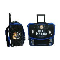 Cartable REAL MADRID Cartable a Roulette - 2 Compartiments - Primaire College - 41 cm - Bleu et noir - Enfant Garcon