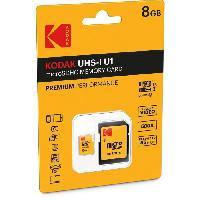 Carte Memoire - Memoire Flash KODAK Class10 U1 Carte mémoire microSDHC - 8 GB - Avec adaptateur