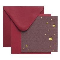 Carte Postale Cartes enveloppe carre - Rouge noel - 10 pieces