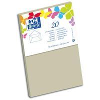 Carterie - Correspondance 20 Enveloppes - 14 cm x 9 cm x 1.5 cm - 120g - Gris clair