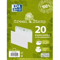 Carterie - Correspondance 20 enveloppes 100 recycle auto-adhesives - 23.1 cm x 16.4 cm x 0.8 cm - 90g