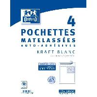 Carterie - Correspondance 4 Pochettes Matelassees Kraft auto-adhesives - 34 cm x 26 cm x 2.5 cm