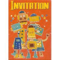 Carterie - Correspondance Cartes d'invitation Robots x6 avec enveloppes