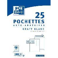 Carterie - Correspondance OXFORD 25 Pochettes Kraft - 22.9 cm x 16.2 cm x 1.5 cm - Blanc