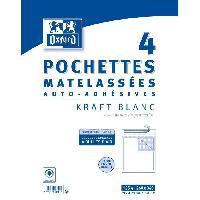 Carterie - Correspondance OXFORD 4 Pochettes Matelassées Kraft auto-adhésives - 34 cm x 26 cm x 2.5 cm