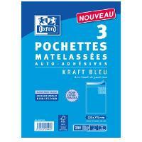 Carterie - Correspondance OXFORD Paquet de 3 pochettes matelassées auto-adhésives - 28 cm x 20 cm x 1 cm - Bleu