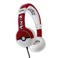 Casque - Microphone - Dictaphone Casque Pokemon Pokeball Junior - Rouge et Blanc