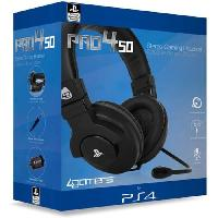 Casque  - Microphone Casque Stereo Gaming pour PS4 Noir - A4t