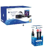 Casque De Realite Virtuelle - Casque De Realite Augmentee PlayStation VR + PlayStation Camera + VR Worlds -Voucher- + Paire Manette de detection de mouvements PlayStation Move - Sony Computer Entertainment