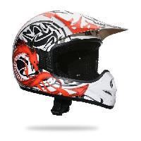 Casque Moto Scooter Casque Cross DRAGON 505 Deco Blanc - XL61cm - XL61cm - XL61cm