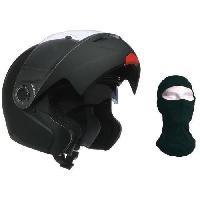 Casque Moto Scooter Casque Modulable Noir Mat + Cagoule OFFERTE - XL61cm - XL61cm - XL61cm