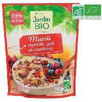 Cereales Petit Dejeuner JARDIN BIO Muesli / Myrtille / Goji et cranberry bio - 375 g