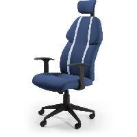 Chaise - Fauteuil De Bureau BUZZ Chaise de burreau - Simili et tissu bleu - Style urbain - L 63 x P 67 cm