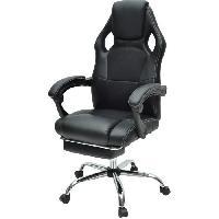 Chaise - Fauteuil De Bureau DESPINA Chaise de bureau - Simili et tissu noir - Classique - L 64 x P 70 cm