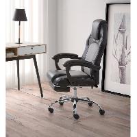 Chaise - Fauteuil De Bureau DESPINA Chaise de bureau - Simili noir et tissu gris - Classique - L 64 x P 70 cm