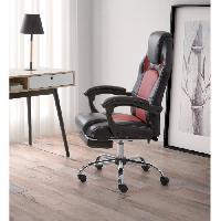 Chaise - Fauteuil De Bureau DESPINA Chaise de bureau - Simili noir et tissu rouge - Classique - L 64 x P 70 cm
