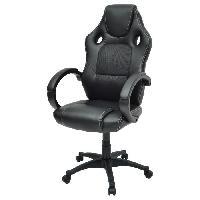 Chaise - Fauteuil De Bureau DRIFT Fauteuil de bureau gaming design baquet - Simili et tissu noir - Style contemporain - L 50 x P 42.5 cm