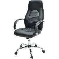 Chaise - Fauteuil De Bureau FLAT Chaise de bureau - Simili noir - Style industriel - L 60 x P 47 cm
