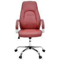 Chaise - Fauteuil De Bureau FLAT Chaise de bureau - Simili rouge bordeaux - Style industriel - L 60 x P 47 cm