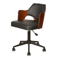 Chaise - Fauteuil De Bureau KIRUNA Chaise de bureau en bois bambou et metal chrome - Revetement simili PU noir et marron - Style contemporain - L 49 x P 51 cm