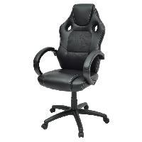 Chaise - Fauteuil De Bureau LAREN Chaise de bureau en metal - Revetement simili PU et tissu noir - Style contemporain - L 64 x P 70 cm