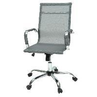 Chaise - Fauteuil De Bureau LAW Chaise de bureau en metal chrome - Revetement tissu gris - Style contemporain - L 57 x P 77 cm