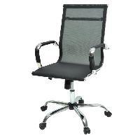 Chaise - Fauteuil De Bureau LAW Chaise de bureau en metal chrome - Revetement tissu noir - Style contemporain - L 57 x P 77 cm