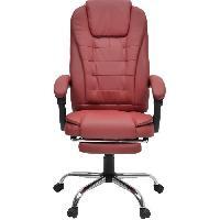 Chaise - Fauteuil De Bureau MACK Chaise de bureau - Simili rouge bordeaux - Style industriel - L 61 x P 54 cm
