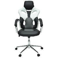 Chaise - Fauteuil De Bureau MASK Fauteuil de bureau - Simili noir. blanc et gris - Urbain - L 73 x P 59 cm - Aucune