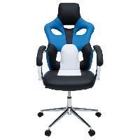 Chaise - Fauteuil De Bureau MASK Fauteuil de bureau - Simili noir. bleu et blanc - Urbain - L 73 x P 59 cm - Aucune