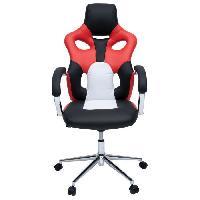 Chaise - Fauteuil De Bureau MASK Fauteuil de bureau - Simili noir. rouge et blanc - Urbain - L 73 x P 59 cm - Aucune