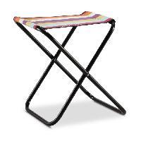 Chaise - Fauteuil De Camping EREDU Tabouret Pliant camping Maxi 521/L - Polycoton - Noir et Multicolore