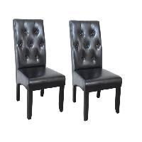 Chaise 2 chaises de salle a manger en simili noir