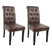 Chaise 2 chaises de salle a manger en tissu marron