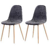 Chaise 2 chaises de salle a manger pieds en metal imitation bois - Revetement simili PU gris - Style industriel - L 54 x P 44 cm
