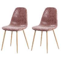 Chaise 2 chaises de salle a manger pieds en metal imitation bois - Revetement simili PU marron - Style industriel - L 54 x P 44 cm