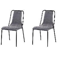 Chaise 2 chaises de salle a manger pieds en metal noir - Revetement simili PU gris - Style industriel - L 47 x P 56 cm