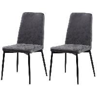 Chaise 2 chaises de salle a manger pieds en metal noir - Revetement simili PU gris - Style industriel - L 52 x P 52 cm