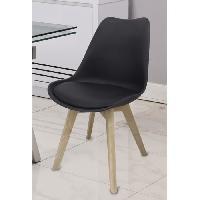 Chaise BJORN Chaise de salle a manger - Simili noir - Scandinave - L 48.3 x P 61 cm - Generique