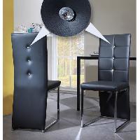 Chaise BLING Lot de 2 chaises de salle a manger - Simili noir - Contemporain - L 44.5 x P 54 cm - Generique