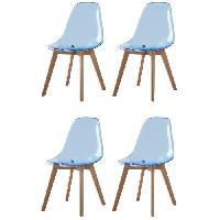 Chaise BROOKLIN 4 chaises de salle a manger - Bleu - Style scandinave - L 47 x P 53 cm