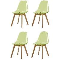 Chaise BROOKLIN Lot de 4 chaises de salle a manger vert - Pieds en bois hetre massif - Scandinave - L 46.5 x P 53 cm - Generique