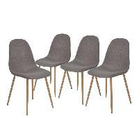 Chaise CHARLTON 4 chaises de salle a manger - Metal imprime bois revetu de tissu gris - Style contemporain - L 43 x P 55 cm