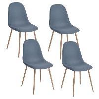 Chaise CHARLTON Lot de 4 chaises de salle a manger - Metal imprime bois revetu de tissu bleu - Style contemporain - L 43 x P 55 cm
