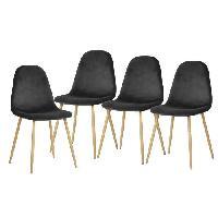 Chaise CHARLTON VELVET Lot de 4 chaises de salle a manger - Metal imprime bois - Velours gris anthracite - Scandinave - L 43 x P 55 cm - Generique