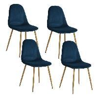 Chaise CHARLTON VELVET Lot de 4 chaises de salle a manger - Metal imprime bois revetu de velours bleu - Contemporain - L 43 x P 55 cm